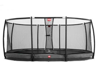 """BERG Inground Grand Champion 515cm x 365cm (16ft 9"""" x 12ft 6"""") with safety net and the new Airflow bed."""