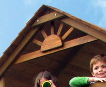 An example of a gable fan fitted onto a wooden roof