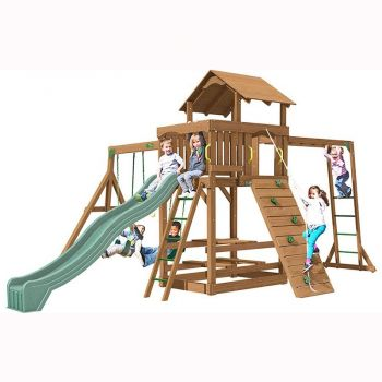 Spring Hill tower with Monkey Ladder, 3m (10ft) slide, 3 swinging positions, rock wall with knotted rope, access ladder with textured rungs, built in picnic table and 3 swings (back to back glider is an extra).