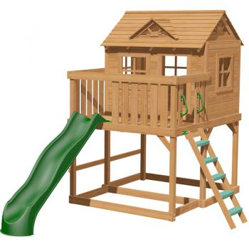 Yorktown tower with steps 3m slide and massive play platform with a raised playhouse