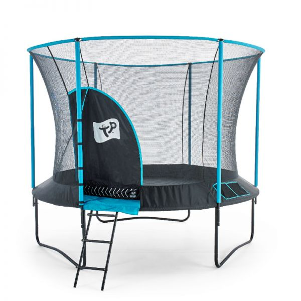 10ft Genius Round Blue Trampoline with Igloo door including a free ladder and cover.