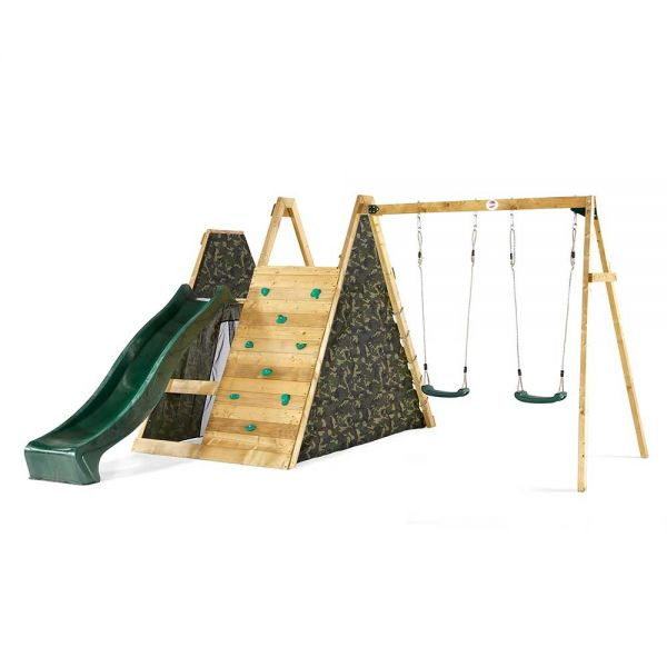 Climbing Pyramid with 2.4m (8ft) slide, rock wall, climbing net and swing section.