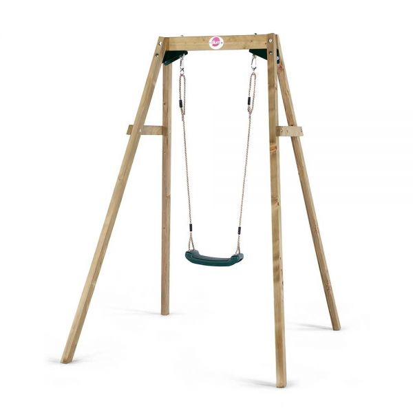 Plum wooden single swing including one moulded swing seat.