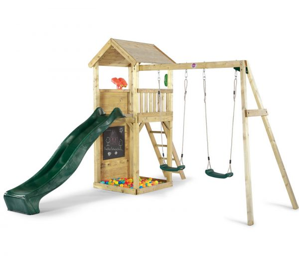 Plum Premium Wooden Lookout Tower with a 1.2m (4ft) raised platform with an angled access ladder and 2.4m (8ft) slide for a fast exit.