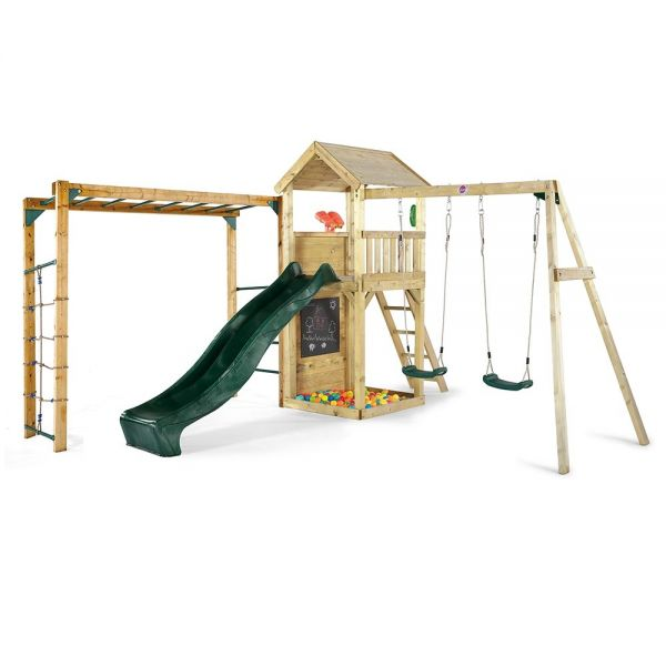 Plum Premium Wooden Lookout Tower with a 1.2m (4ft) raised platform with an angled access ladder and 2.4m (8ft) slide for a fast exit, swings and monkey ladder.