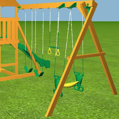 4 position 9ft high beam swing, swing seats are sold separately.