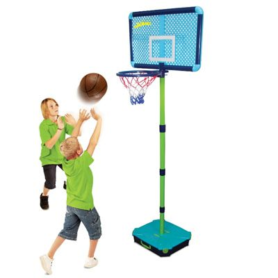 Junior basketball set with adjustable height 150cm - 215cm and includes a junior basketball for younger children.