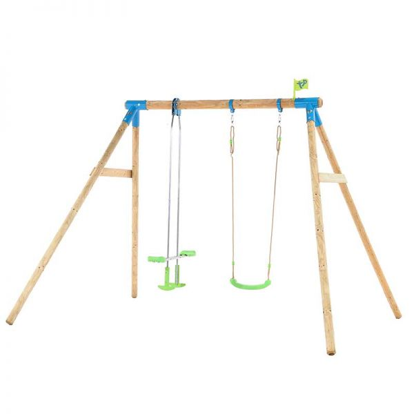 Tp Nagano wooden swing set with swing seat and glider.
