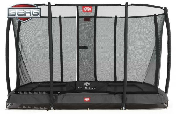 BERG Inground Ultim Champion grey and safety net 220cm x 330cm (7ft x 11ft) with safety net.