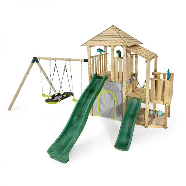 Plum Bison Front with 2 swings, Nest Swing, 2 slides and loads of platform space.