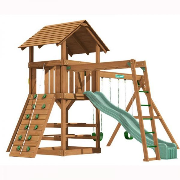 Clayton tower with Monkey Ladder, 3m (10ft) slide, 3 swinging positions, rock wall with knotted rope, access ladder with flat treads, picnic table and monkey ladder.
