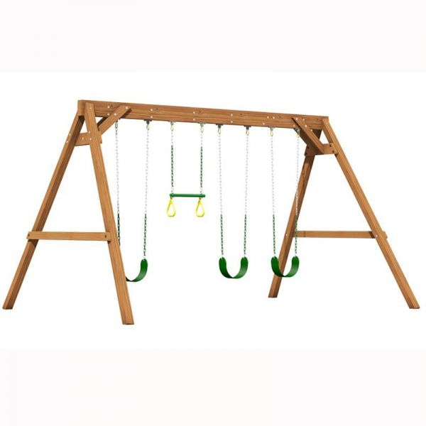 Creative Playthings 4 position swing frame - 3 x sling swings and 1 x trapeze bay with rings.
