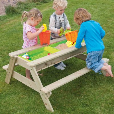 Remove the lid and use the tray with water and sand - water toys not included.