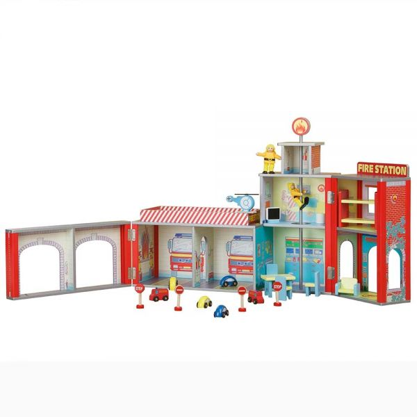 Plum® Ingham Fire Station Wooden Play Set with Accessories