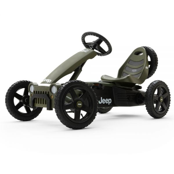 BERG Jeep adventure go kart with brake free wheel, air tyres and a spare wheel!
