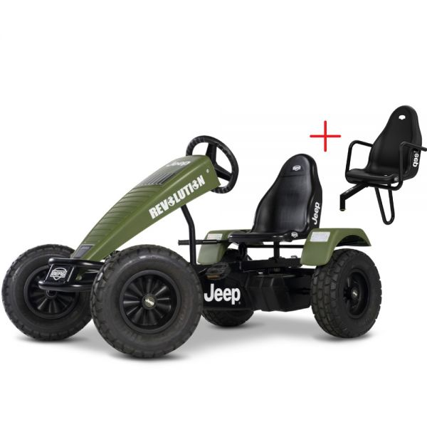 BERG Jeep Revolution including a FREE passenger seat, brake free wheel and Swing axle.  Suitable from 5 years to adult.