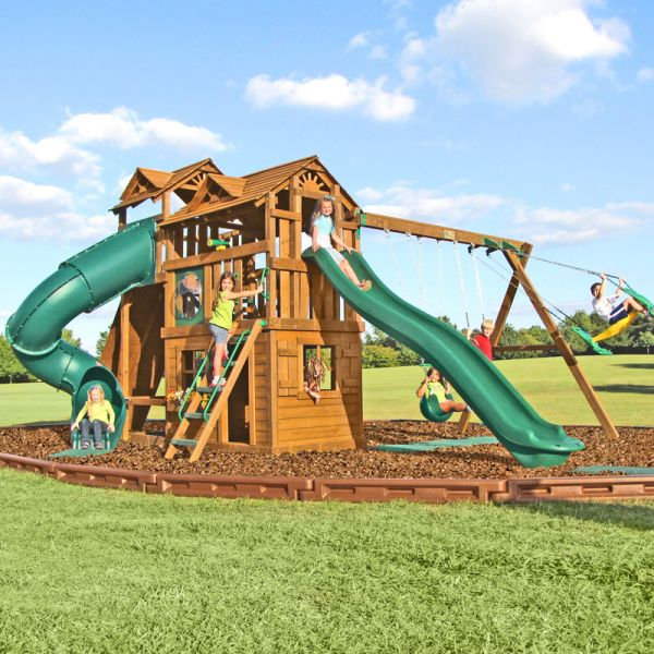 Huge 14ft swoosh slide, tall 9ft high swing section, big enclosed tube slide, tall rock wall with access to the 7ft high platform on the back and more.