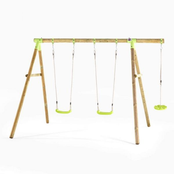 Plum Loris wooden swing with 2 deluxe seats and 1 button swing seat.