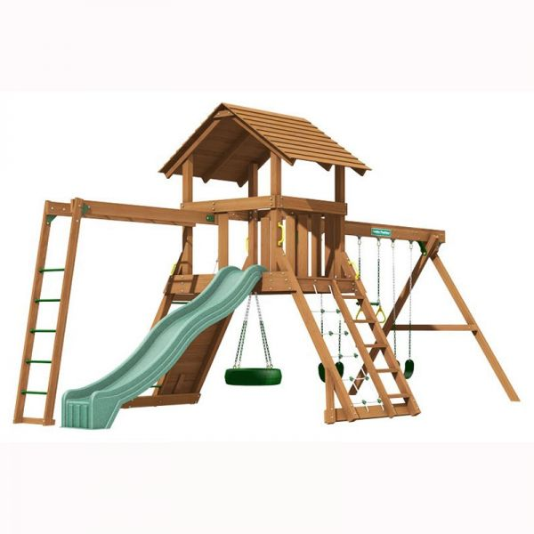 Northbridge tower with Monkey Ladder, 3m (10ft) slide, 3 swinging positions, rock wall with knotted rope, chain climber, 360 degree tyre swivel swing and access ladder with flat treads.