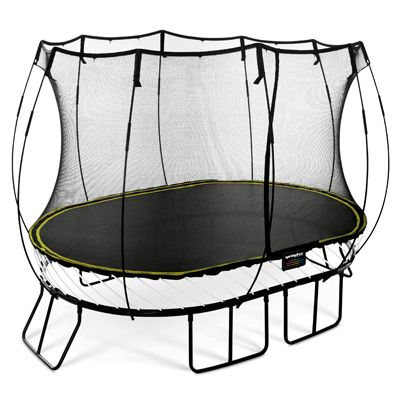 Springfree O77 the size of an 2.4m x 3.4m (8ft x 11ft) trampoline but the same jumping space as a 3m x 3.9m (10ft x 13ft) sprung trampoline.