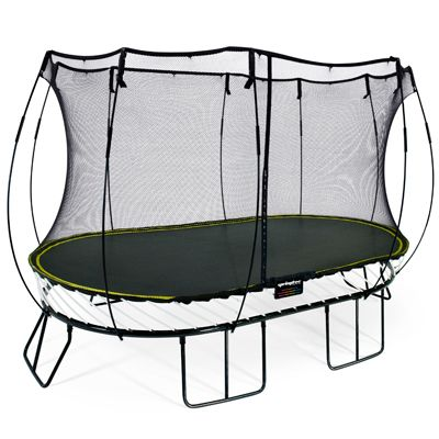 Springfree O92 the size of an 2.4m x 4m (8ft x 13ft) trampoline but the same jumping space as a 3m x 4.6m (10ft x 15ft) sprung trampoline.