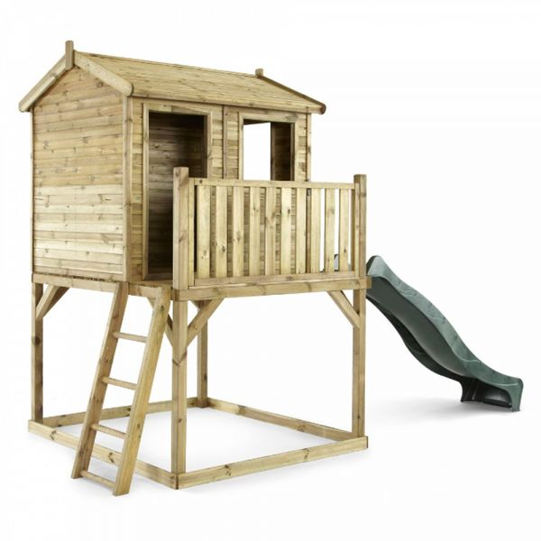 Plum Premium Wooden Adventure Playhouse sitting on a 1.2m (4ft) raised platform with an angled access ladder and 2.4m (8ft) slide for a fast exit.