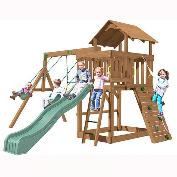 Eastport tower with slide, rock wall, access ladder, built in sandbox and 3 swings.