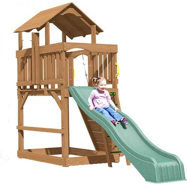 Eastport tower with slide, rock wall, access ladder and built in sandbox.