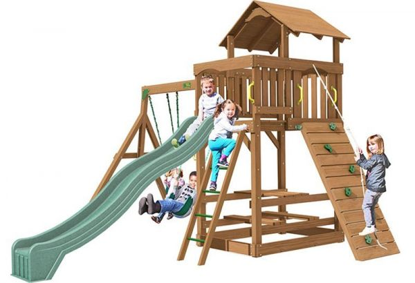 Spring Hill with 3m (10ft) slide, 3 swinging positions, rock wall with knotted rope, access ladder with textured rungs and built in sandbox.