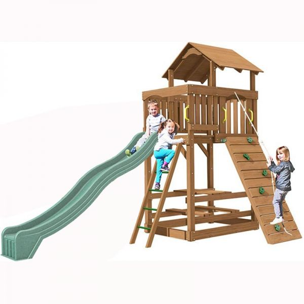 Seminole tower with 3m (10ft) slide, rockwall with knotted rope, chalkboard, access ladder with textured rungs, built in sandbox, 3 swings and O's and X's game.