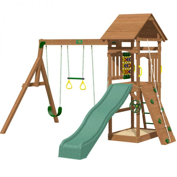 Riviera tower with slide, rockwall, access ladder, built in sandbox, 3 swings, play steering wheel and O's and X's game.