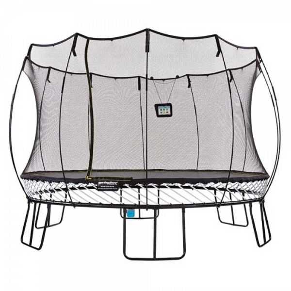 Springfree R79 the size of an 3.9m (13ft) trampoline but the same jumping space as a 4.57m (15ft) sprung trampoline.