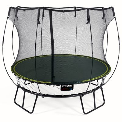 Springfree R54 the size of an 2.4m (8ft) trampoline but the same jumping space as a 3m (10ft) sprung trampoline.