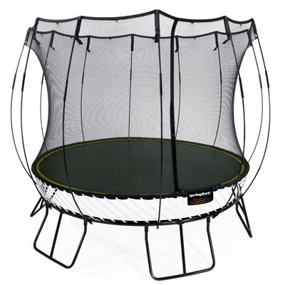 Springfree R79 the size of an 3m (10ft) trampoline but the same jumping space as a 3.6m (12ft) sprung trampoline.