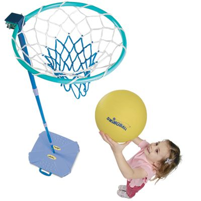 Junior netball set with adjustable height up to 250cm and includes a vinyl netball for younger children.