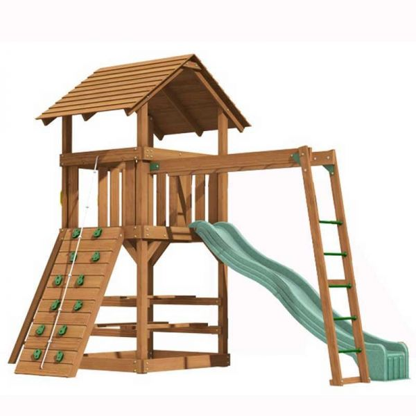 Clayton tower with Monkey Ladder, 3m (10ft) slide, rock wall with knotted rope, access ladder with flat treads, picnic table and monkey ladder.