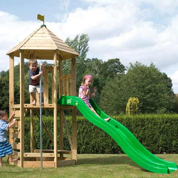 TP Castlewood tower complete with climbing wall, fireman's pole and crazywavy slide.  Slide extension is a cost option.