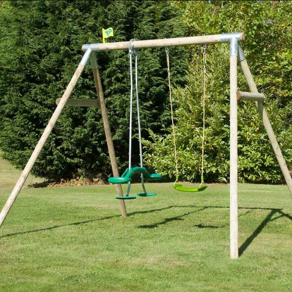 TP Knightswood double wooden swing set with skyride including the duo bracket and a deluxe swing seat