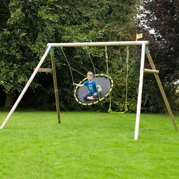 TP Knightswood triple wooden swing frame including the nest swing and 1 x deluxe swing seat.