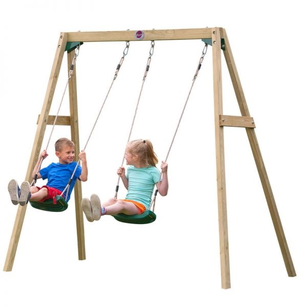 Plum wooden double swing set including 2 moulded seats