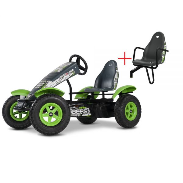 BERG X-Plore BFR including a FREE pasenger seat! other features are brake free wheel, double  ballbearing steering and Swing axle.  Suitable from 5 years to adult.