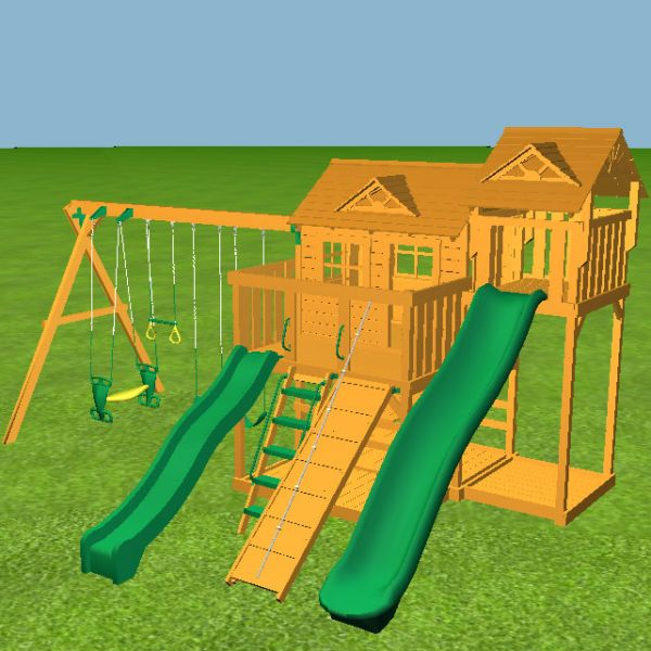The Yorktown tower has a 10ft slide and two big play platforms with playhouse.  We have then added the 7ft Skybox with 14ft slide.